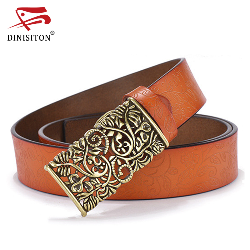 DINISITON New Fashion Women Belt Cowhide Carved Flower Strap Genuine Leather Belt For Women Strap Vintage High Quality