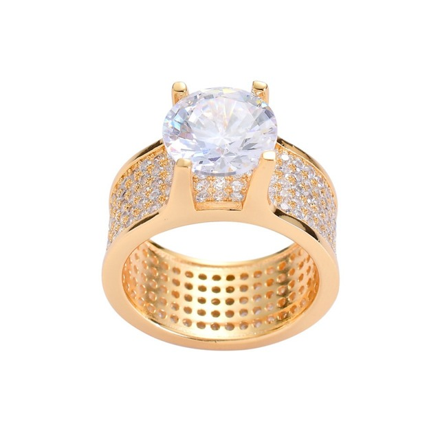 Hip Hop Bling Ice Out AAA Cubic Zirconia Ring for Men Women Geometric Round CZ Rings High Quality Party Jewelry Gold Silver Gift