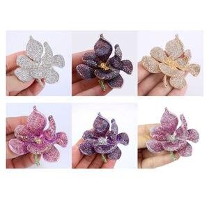 Image 3 - Tuliper брошь orchidea kobiety broszka kwiat Broche Femme przypinka do klapy wisiorek różowy kryształ Party biżuteria аксессуары Kpop moda