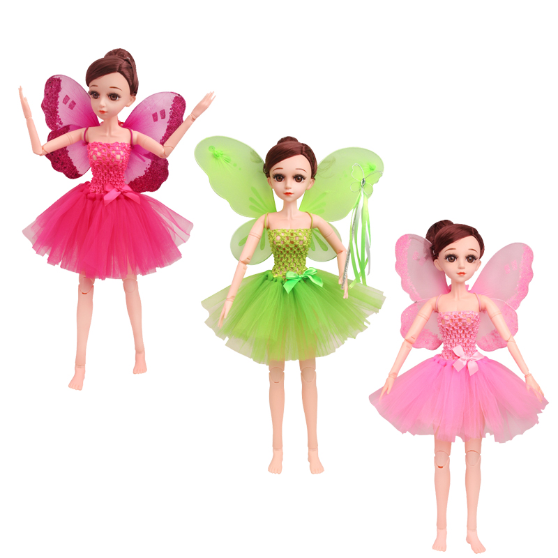 60CM 8-point <font><b>BJD</b></font> doll skirt green fairy flower fairy angel wings with doll <font><b>clothes</b></font> b7-18-20 image