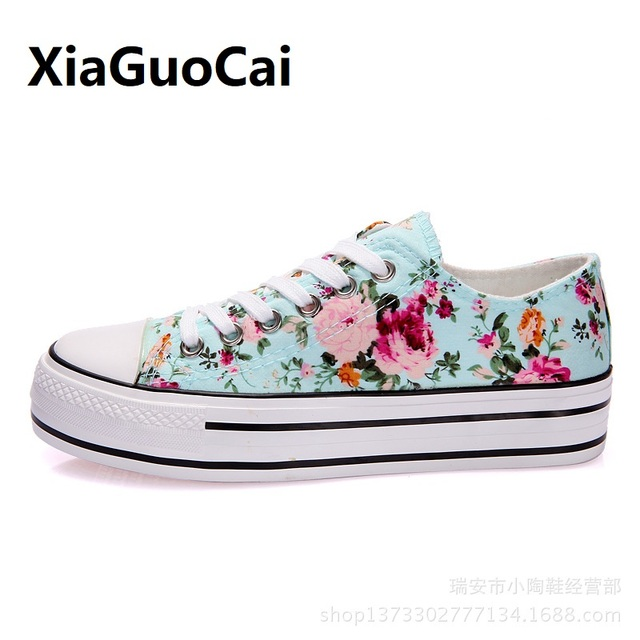d801193ad9 Flower Summer Women Casual Shoes canvas lace up Increase footwear famale  breathable student girl Sneakers Fashion Print