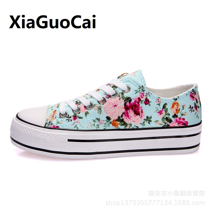 Flower Summer Women Casual Shoes canvas lace up Increase footwear famale breathable student girl Sneakers Fashion Print
