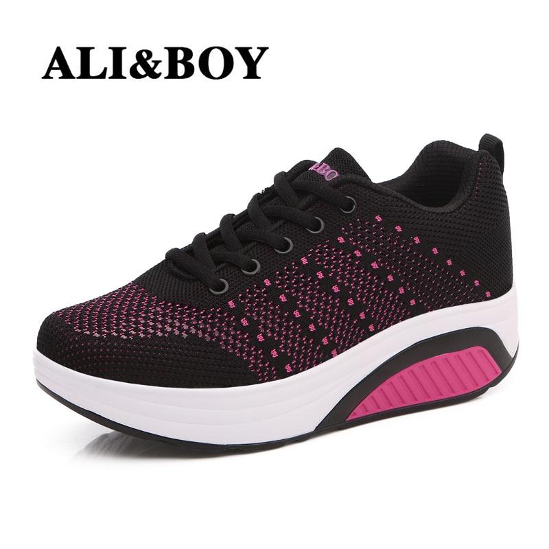 ALI&BOY Women Running Platform Body Shaping Shoes Shape Fitness sneaker wedge Swing shoes slimming Female ladies shoes sports