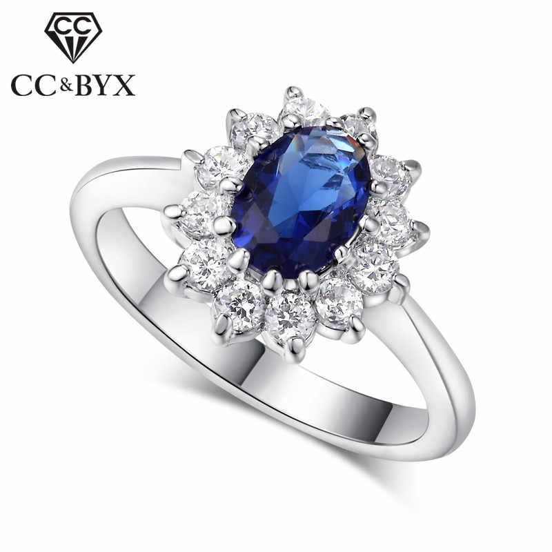 Cc Princess Diana Rings Luxury Silver Plate Fashion Jewelry Blue Cubic Zirconia Stone Bride Wedding Engagement Ring Cc626 Diana Ring Princess Diana Ringwedding
