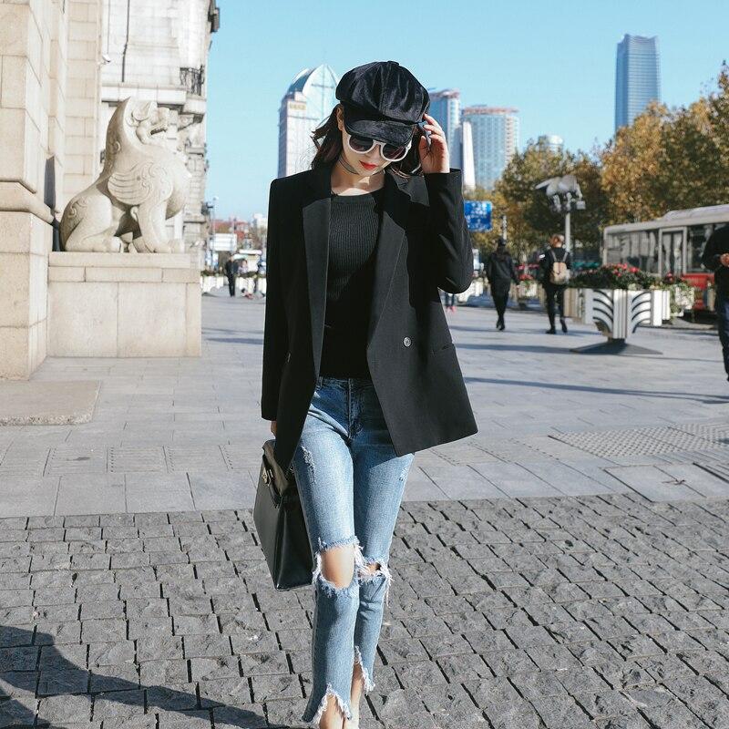 Version La 2018 Section Coréenne Lâche Tendance L'automne Black Occasionnel Costume Longue De Mince Mode Des Sauvage Printemps Nouvelle Petit Femmes Femelle 0CwBqCf