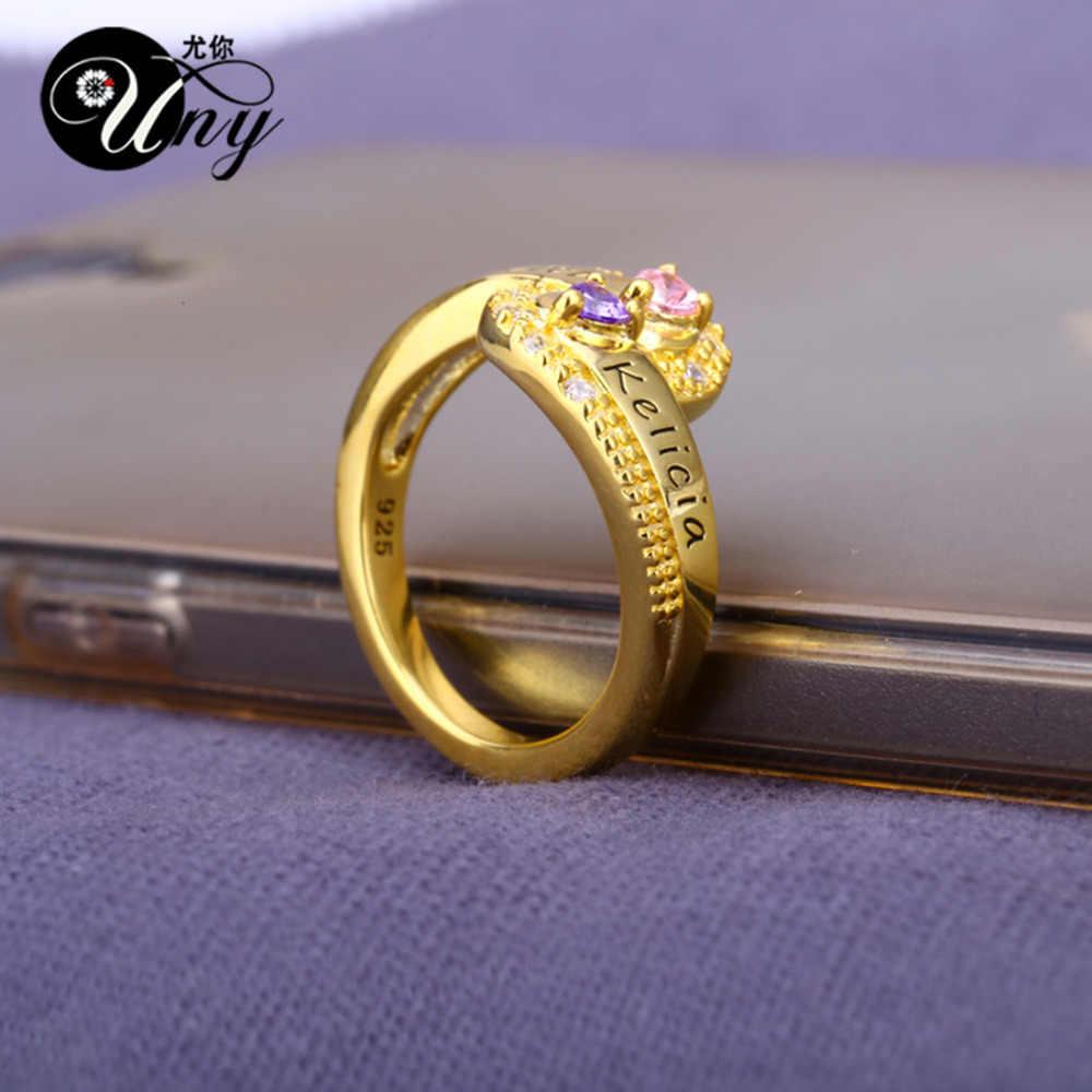 Uny кольцо матери персонализированные Юбилей подарки Кольца пользовательские камень DIY выгравировать кольцо серебро 925 Юбилей любовь BFF Кольца