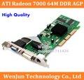 1 PCS Frete Grátis Nova Marca Sapphire ATI Radeon 7000 64 M DDR VGA/DVI/TVO AGP 1 um ano de garantia