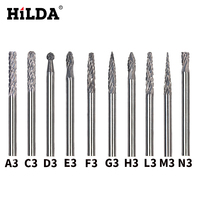 HILDA 10pcs Set Tungsten Carbide Burr 3mm Rotary Cutter Files Set CNC Engraving CED Cutting Edge
