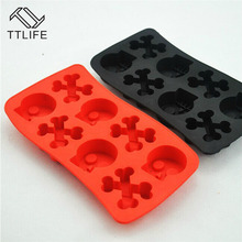 TTLIFE New Cake Decorating Tool Creative Silicone Chocolate Mold Jelly Candy Pudding Mould 8 Skull Shape Ice Cube