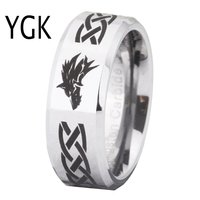 Free Shipping USA UK Canada Russia Brazil Hot Sales 8MM Legend of Zelda&Wolf Silver Beveled Men's Fashion Tungsten Wedding Ring