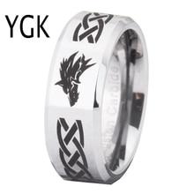 Ring Wemen Mannen Klassieke Wieden Ring Voor Mannen 8 Mm Legend Of Zelda & Wolf Zilveren Bevel Fashion Tungsten engagement Zilveren Ring