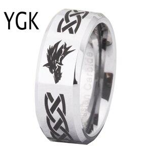 Image 1 - Ring Wemen männer Klassische Jäten Ring Für Männer 8MM Legende von Zelda & Wolf Silber Bevel Mode Wolfram engagement Silber Ring