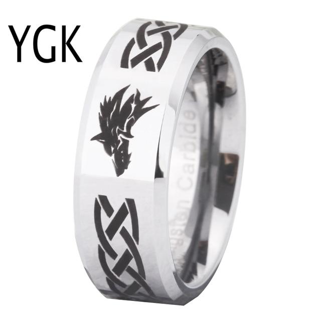Ring Wemen männer Klassische Jäten Ring Für Männer 8MM Legende von Zelda & Wolf Silber Bevel Mode Wolfram engagement Silber Ring