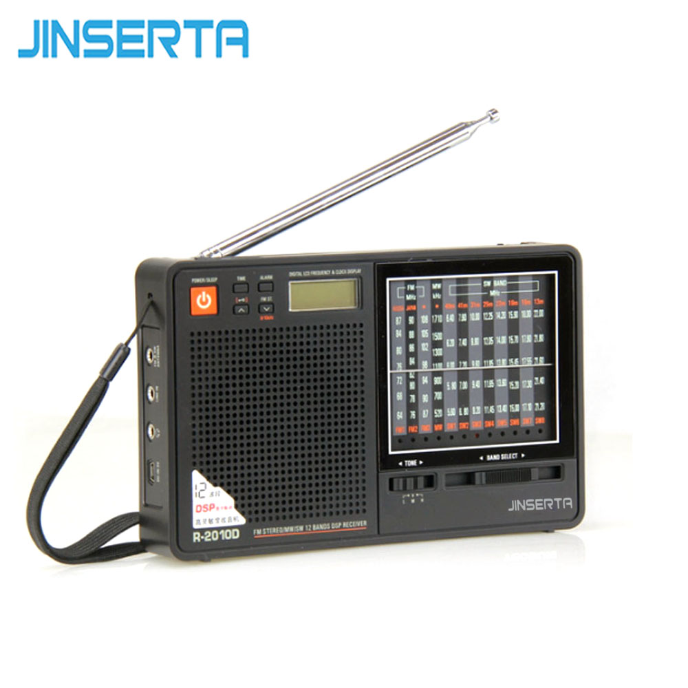 JINSERTA New Portable Tecsun R-2010D Full Band Radio Receiver Digital FM/MW/SW Radio With LED Display Alarm Clock Music Player 10 pcs pocket radio 9k portable dsp fm mw sw receiver emergency radio digital alarm clock automatic search radio station y4408h