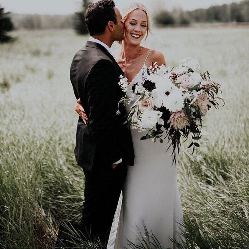 2019 Simple Mermaid Wedding Dresses Elegant V Neck Plus Size Spaghetti Straps robe de mariee Satin Bridal Gowns vestido de noiva in Wedding Dresses from Weddings Events