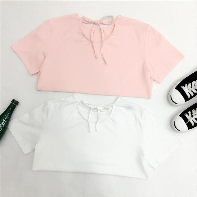 harajuku shirt women summer 2016 korean kawaii plus size women shirts punk  rock sexy bow tie t-shirt women tops couple clothes f7dec696e