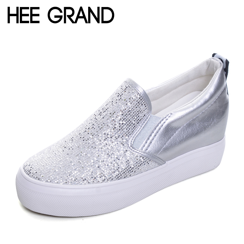 HEE GRAND 2017 Platform Shoes Woman Silver Glitter Creepers Slip On Wedges Casual Spring Women High Heels Shoes XWD4965 hee grand sweet patent leather women oxfords shoes for spring pointed toe platform low heels pumps brogue shoes woman xwd6447