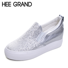HEE GRAND 2017 Platform Shoes Woman Silver Glitter Creepers Slip On Wedges Casual Spring Women High Heels Shoes XWD4965(China)