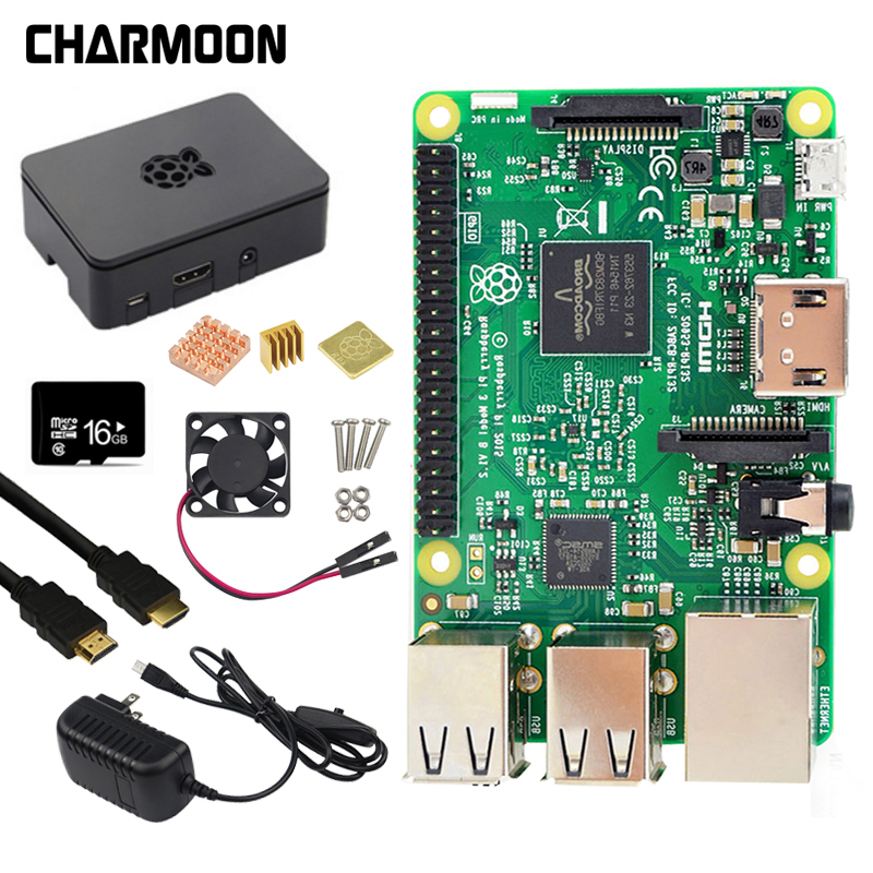 Raspberry Pi 3 modèle B Kit 5V2. 5A alimentation avec interrupteur + carte SD 16G + boîtier ABS + ventilateur de refroidissement + dissipateur de chaleur + câble HDMI + caméra 5MP