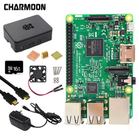 Raspberry Pi 3 Model B Kit 5V2.5A Power Supply With Switch + 16G SD Card +ABS Case+Cooling Fan+Heat Sink+HDMI Cable +5MP Camera