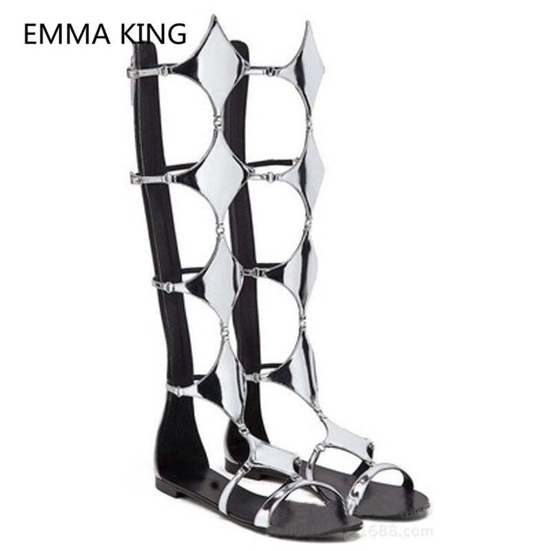 Prata Losango Mulheres Joelho Alta Plana Sandálias Abertas Toe Cut Out Casual Designer de Moda Sapatos de Verão Mulher Sandálias Gladiador botas - 2