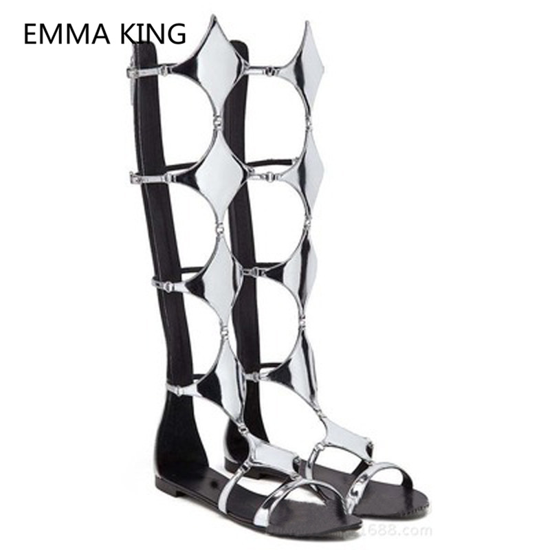 Silver Rhombus Women Knee High Flat Sandals Open Toe Cut Out Casual Trendy Designer Shoes Woman Summer Gladiator Sandals Boots - 2