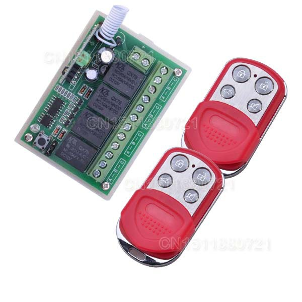 DC 12V 10A 4Channel RF Wireless Relay Remote Control Switch 315 MHZ Transmitter Receiver