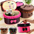 Korean New Lady Cute Square Bow Dots Lace Flower Cosmetic Bag Organizer Jewelry  Storage Case Travel Necessities Makeup Tool Kit