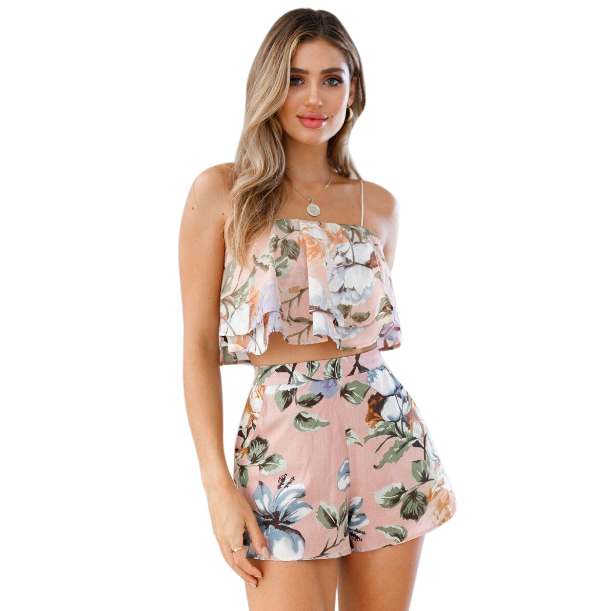 Women Sexy Floral Print Strap Double Layer Flounce Crop Top And Zip Up Mini Shorts Set Ladies Fashion Summer Beach Party Two P
