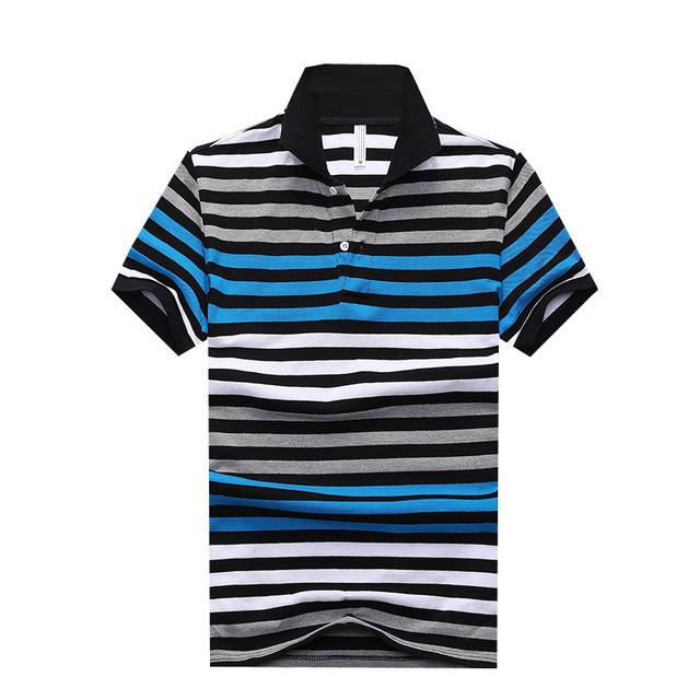 2016 del verano nuevas Camisas ocasionales de la raya del algodón del Polo de manga Heren Poloshirt