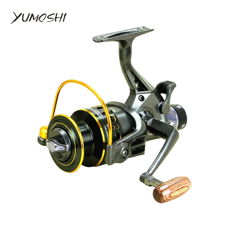 YUMOSHI fishing reel 5.2:1 10+1BB Front and Rear Drag reels 3000 4000 5000 6000 Spinning wheel type fishing wheel Sea Rock lure