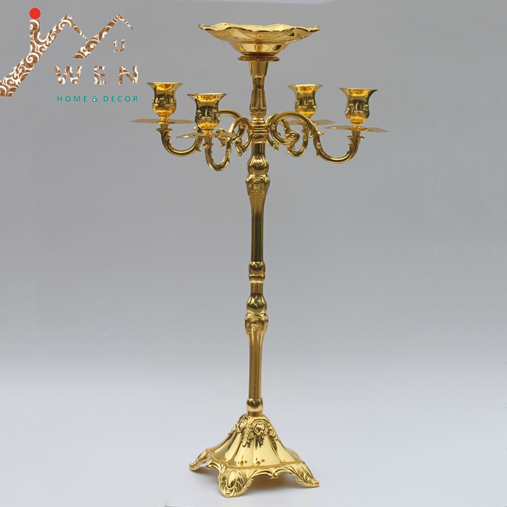 Hot selling 65cm gold finish candelabra with flower bowl in the middle center,4-lights weddings or party use candle holderHot selling 65cm gold finish candelabra with flower bowl in the middle center,4-lights weddings or party use candle holder