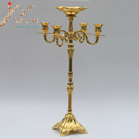 Hot selling 65cm gold finish candelabra with flower bowl in the middle center,4 lights weddings or party use candle holder