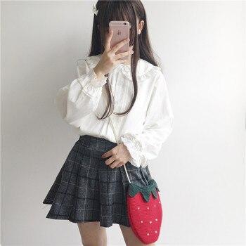 KYQIAO Lolita camisa 2019 mori niñas verano otoño Japón estilo dulce fresco peter pan collar manga larga negro blanco blusa