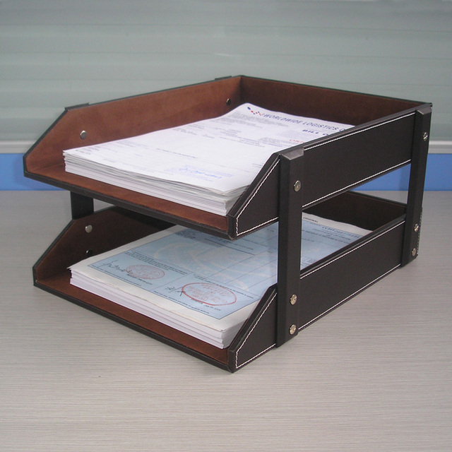 A4 Double Layer Detachable Wood Leather Desk Filing Tray Box Office Organizer Case Doent Container Brown
