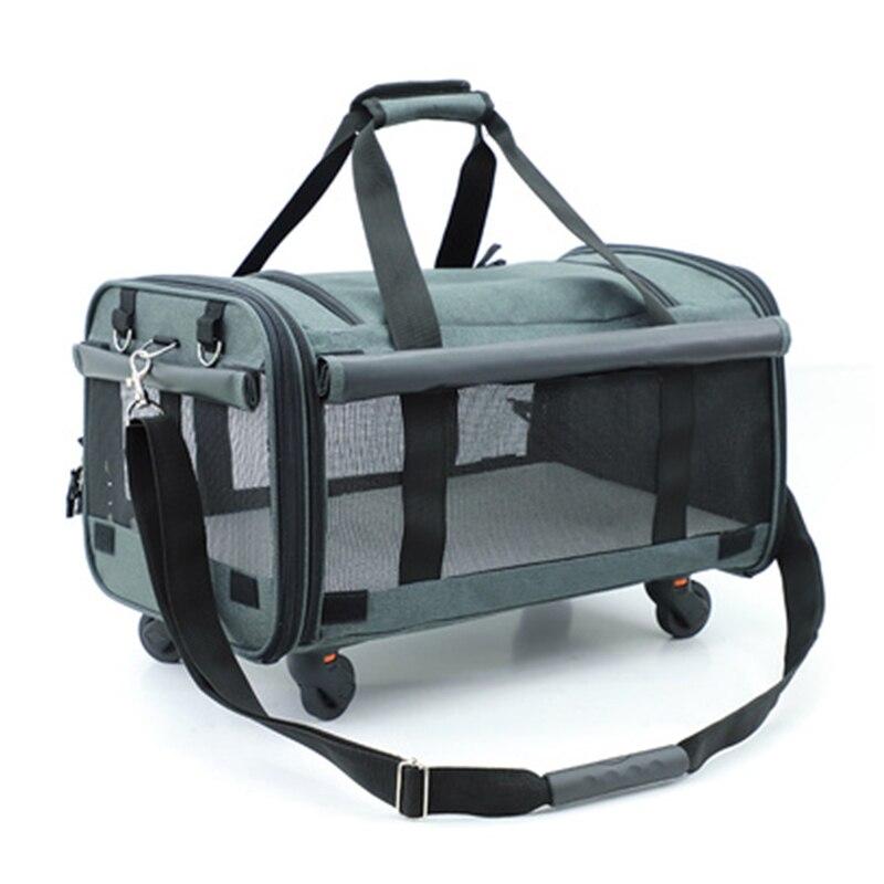 Pull Rod Pet Bag Carrier Car Seat Basket Collapsible Universal Wheels Portable Pet Bag Cat Dog Bag Travel Cat Bag Small Pet Box
