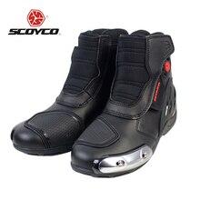 Microfibra Couro SCOYCO Motocross Corrida Off-Road Sapatos Ankle Boots Botas de Equitação Da Motocicleta Equitação Rua Equipamentos de Proteção