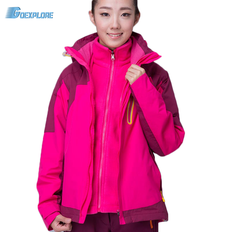 New Winter Jacket Women snow ski Hooded waterproof windproof breathable double layer thicken hiking fishing Coat Outwear 2016 hot child girl winter outdoor ski snow windproof hiking warm jacket coat new