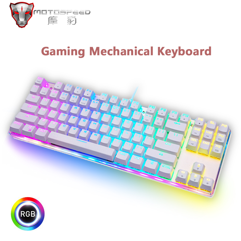 Motospeed Edition Gaming Mechanical Keyboard 87 Keys RGB Backlight Red/Blue Switch USB Wired Keyboard English/Russian For Gamer