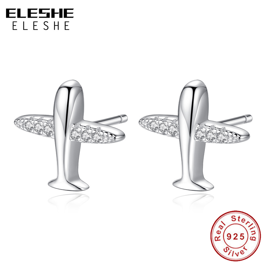 ELESHE New Fashion 925 Silver Aircraft Airplane Women Stud Earring with AAA Crystal Zircon Earrings Sterling Silver Jewelry image