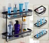 Antique Black Brushed Brass bath towel rack shelf Paper holder wall Mounted Basket storage bathroom accessories Households
