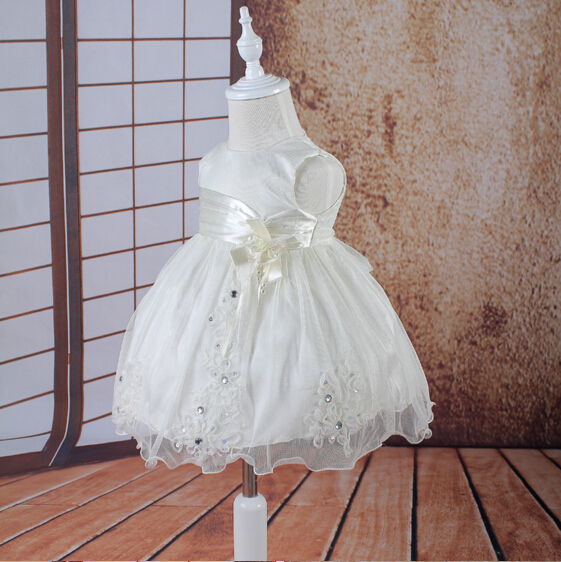 ФОТО 2016 New White/Ivory Christening Dress Baptism Gown Lace Satin Baby Infant Lolita Gown 0-24month