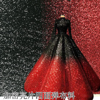 3mm Sequins Gradient Color Encrypt Elastic Fish Scales Tapered Wedding Dresses Fabric 2018 Designer Clothing Material