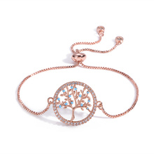 Fashion Zircon Crystal Bracelet Gold Charm Bracelets Bangles For Women Tree of Life Adjustable Jewelry Gifts