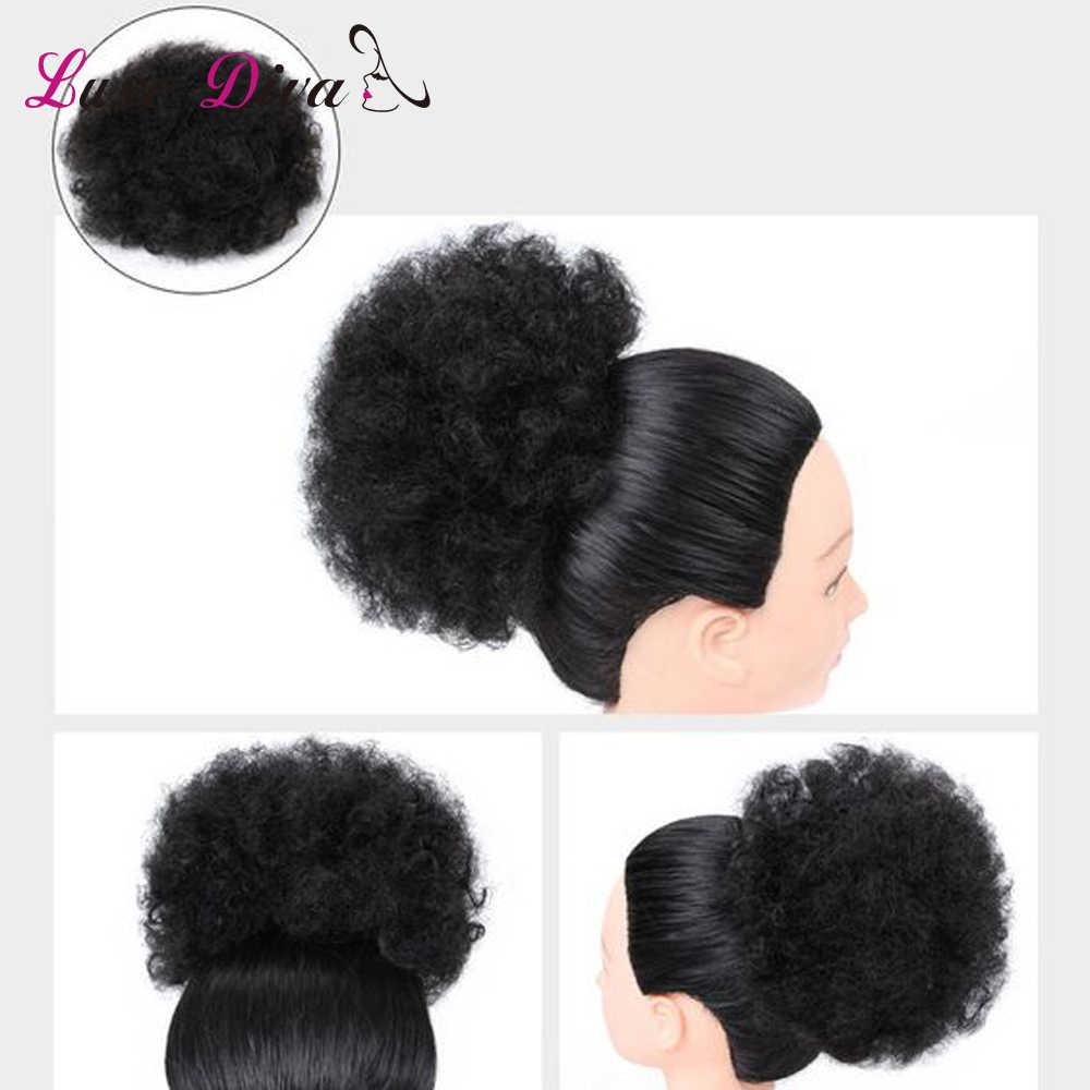 LUXE DIVA Puff Afro corto rizado Chignon cabello moño cordón Cola de Caballo abrigo cabello brasileño Remy extensiones de cabello humano