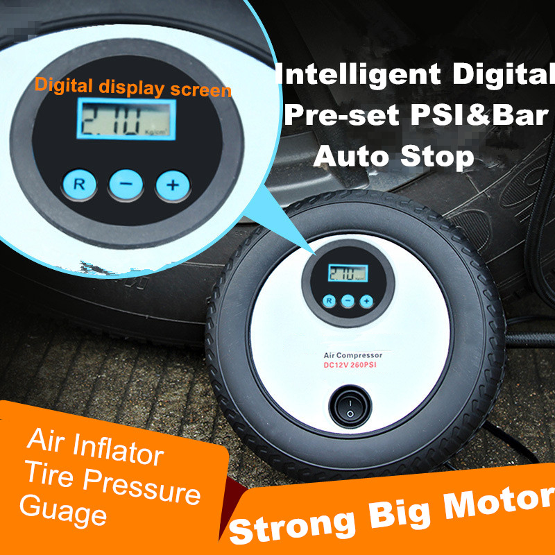 Digital Pre-set Portable 12V 260PSI Car Tire Inflator Pump Mini Digital Compressor Auto Stop Pump Car air compressor