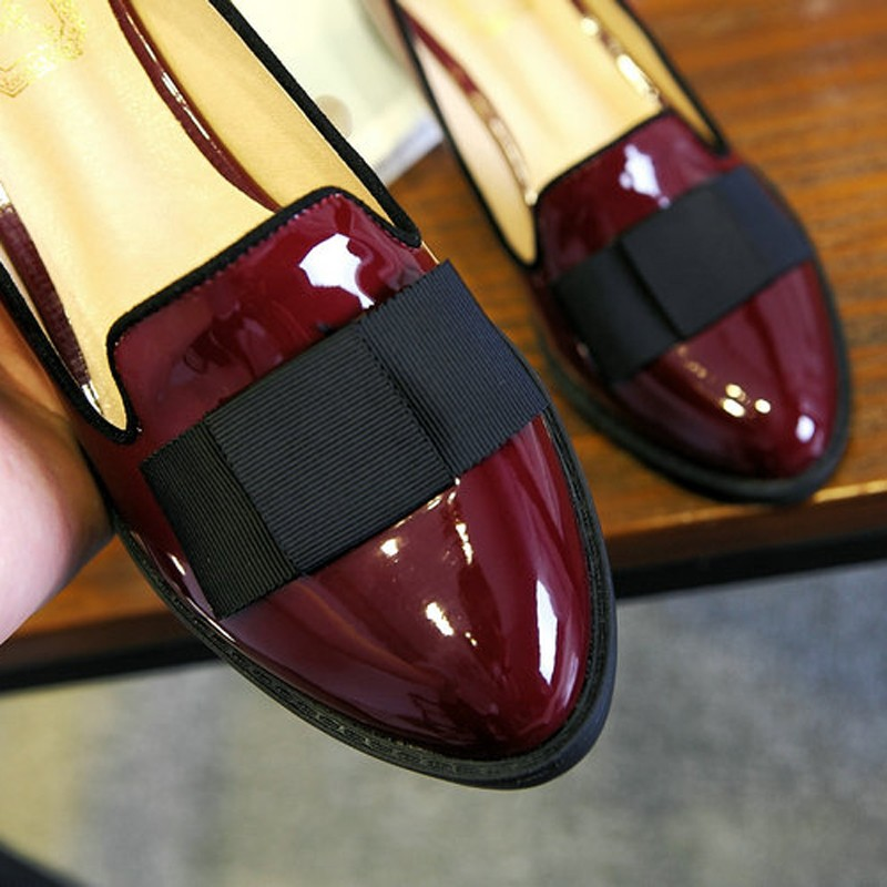 Sweet Bowtie Patent Leather Pumps Round Roe Women\'s Platform Elegant Thick High Heel Shoes Plus Size 34-40 Slip-on High Heels (7)