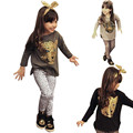 Girls Clothing Sets Baby Kids Autumn Clothes Fashion Children Clothing Full Sleeve T Shirt + Leopard Legging 3 Color