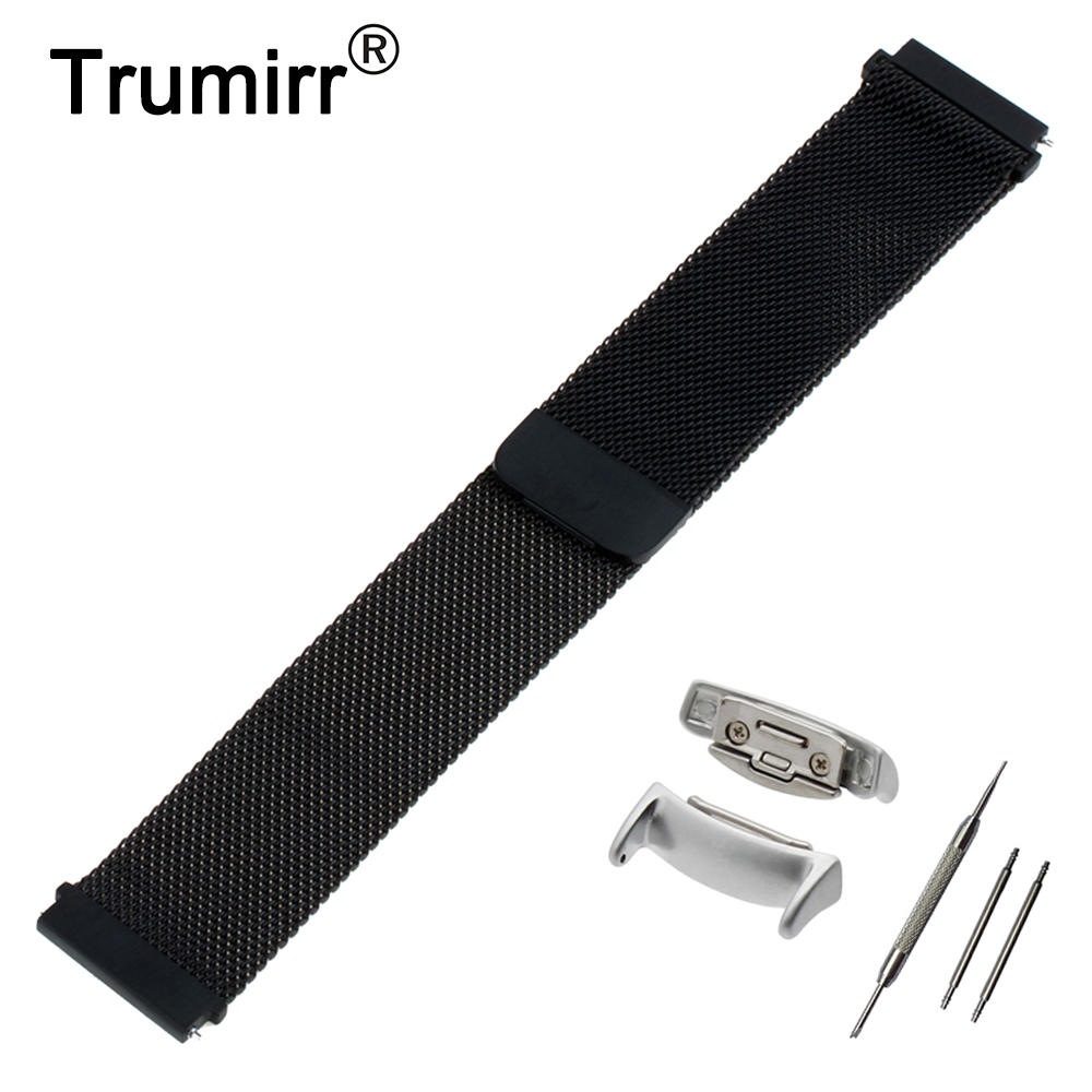 18mm Milanese Watch Band + Adapters for Samsung Gear Fit 2 SM-R360 Magnetic Buckle Belt Quick Release Strap Wrist Bracelet survival bracelet hand ring strap weave paracord buckle emergency quick release for outdoors
