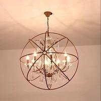 Industrial decor Globe Pendant Lights Crystal Retro Vintage Led Hanging Lamp Iron Home Loft Kichen Bar suspension luminaire